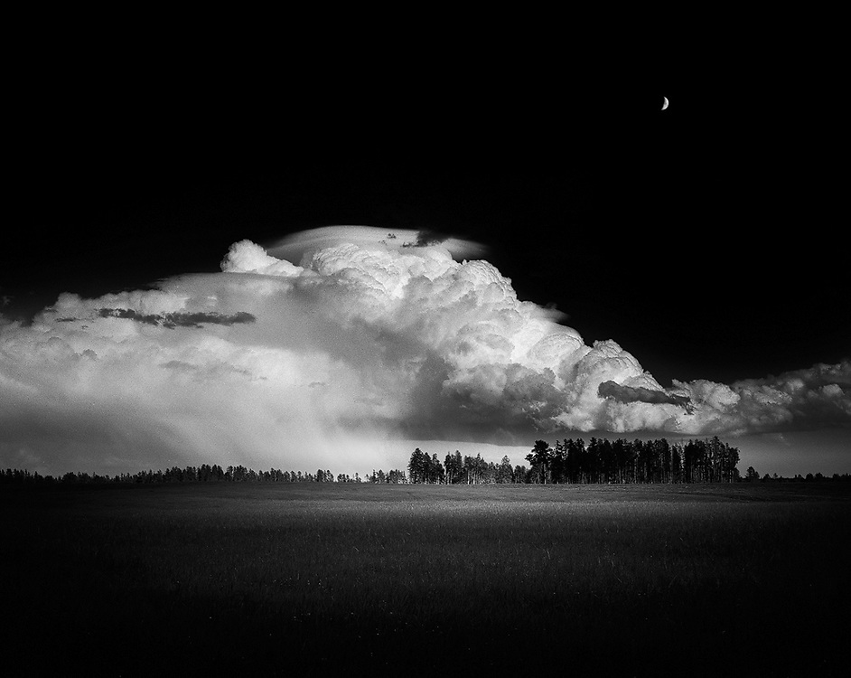 Moon over a summer storm