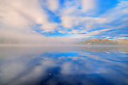 CLoud reflection on Horseshoe Lake<br /> Horseshoe Lake near Parry Sound<br /> Ontario<br /> Canada