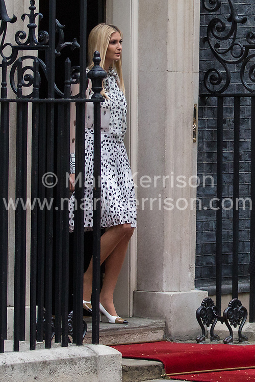 London, UK. 4 June, 2019. Ivanka Trump (l), White House Advisor to US President Donald Trump, her father, leaves 10 Downing Street following lunch and bilateral talks between Prime Minister Theresa May, President Trump and their respective delegations on the second day of the US state visit.