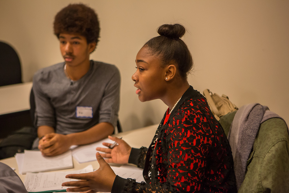 Purchase, NY – 31 October 2014. Early College High School student Jamika Holmes making a point. The Business Skills Olympics was founded by the African American Men of Westchester, is sponsored and facilitated by Morgan Stanley, and is open to high school teams in Westchester County.