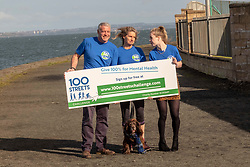 """Pictured: Maria Lyle, Scott and Jenny Hastings with Parker the dog<br /><br />Athlete Maria Lyle, was joined by rugby legend Scott Hastings and his wife Jenny  today in Edinburgh to launch national Mental Health charity Support in Mind Scotland's """"100 Streets Challenge"""" for 2019. The campaign encourages people to walk, run or cycle 100 streets in their communities. <br /><br />Ger Harley 