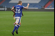 Peter Clarke (Captain) Oldham Defender celebrates his goal during the EFL Sky Bet League 1 match between Oldham Athletic and Scunthorpe United at Boundary Park, Oldham, England on 28 October 2017. Photo by George Franks.