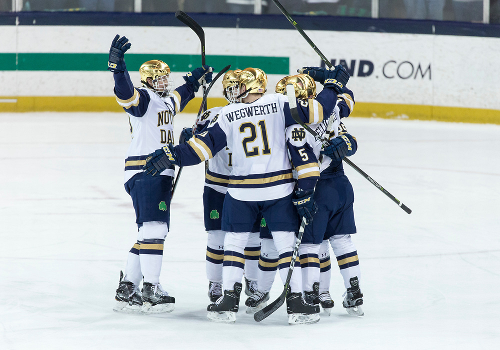 March 17, 2018:  Notre Dame players celebrate goal during NCAA Hockey game action between the Notre Dame Fighting Irish and the Ohio State Buckeyes at Compton Family Ice Arena in South Bend, Indiana.  Notre Dame defeated Ohio State 3-2 in overtime.  John Mersits/CSM