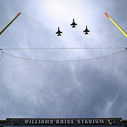F-16 jets from the Swamp Fox squadron fly over Williams-Brice Stadium before an SEC college football game in Columbia, S.C. ©Travis Bell Photography