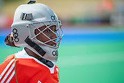 Vuyisanani Mangisa of South Africa before their match against Italy during the Investec Hockey World League Semi Final 2013, the Quintin Hogg Memorial Sports Ground, University of Westminster, London, UK on 27 June 2013. Photo: Simon Parker