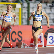 BRUSSELS, BELGIUM:  September 3:  Paulien Couckuyt of Belgium and Andrea Bouma of the Netherlands in action during the Belgium V The Netherlands 400m race during the Wanda Diamond League 2021 Memorial Van Damme Athletics competition at King Baudouin Stadium on September 3, 2021 in  Brussels, Belgium. (Photo by Tim Clayton/Corbis via Getty Images)