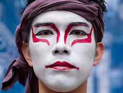 Edinburgh, Scotland, UK. 3 August, 2108.  Ryu (Kabuki) as Masayuki Kaki from Japanese production Jinrou TLPT by Live Playing Theater on the Royal Mile at start of the Edinburgh Fringe festival.
