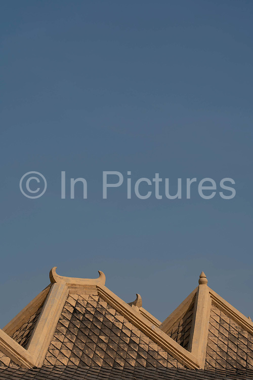 An ornate tiled roof from the historic bathing complex, the Taman Sari Water Castle, in Yogyakarta on the 23rd October 2019 in Java in Indonesia.