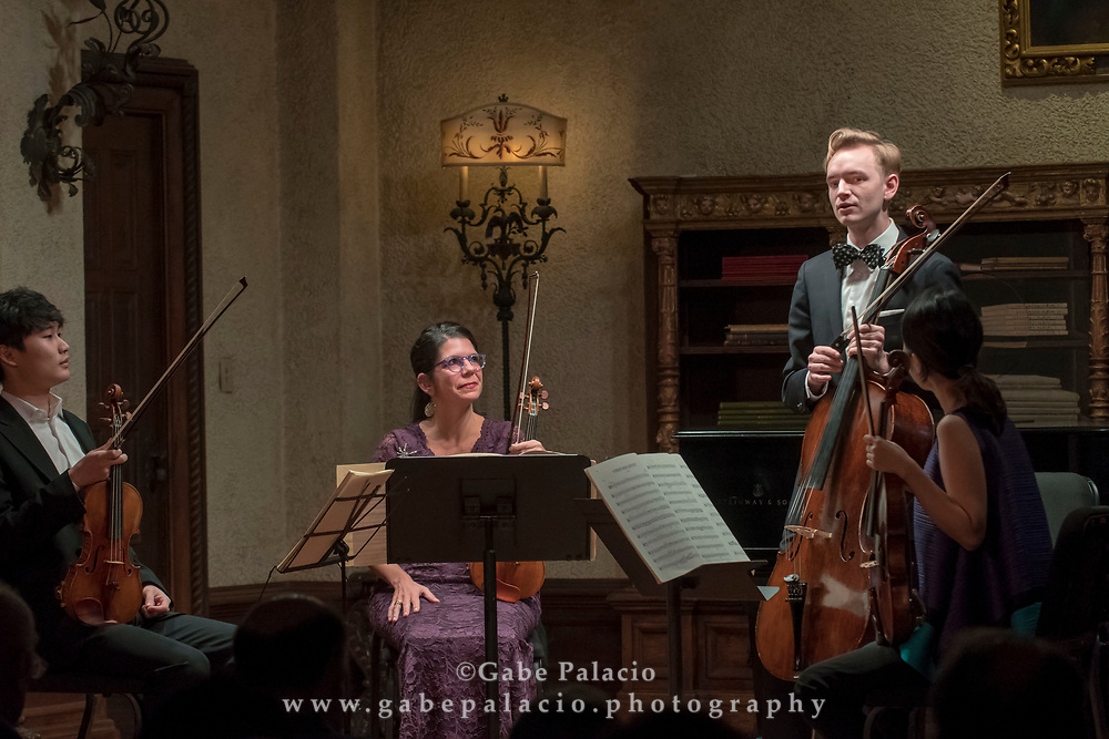 Rising Stars performance in the Music Room of the Rosen House at Caramoor in Katonah New York on October 29, 2017. Pictured L to R: In Mo Yang, violin; Pamela Frank, violin; Coleman Itzkoff, cello; Sung Jin Lee, viola.<br /> (photo by Gabe Palacio)