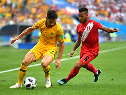 SOCHI, June 26, 2018  Mathew Leckie (L) of Australia vies with Miguel Trauco of Peru during the 2018 FIFA World Cup Group C match between Australia and Peru in Sochi, Russia, June 26, 2018. (Credit Image: © Liu Dawei/Xinhua via ZUMA Wire)
