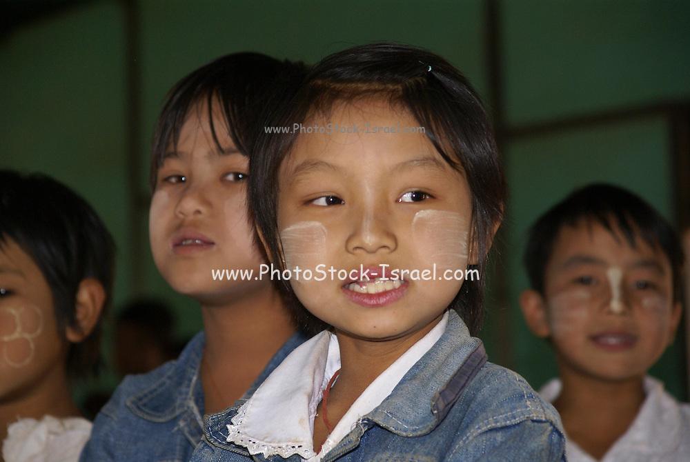 Myanmar, Shan State, Pindaya Children in a classroom