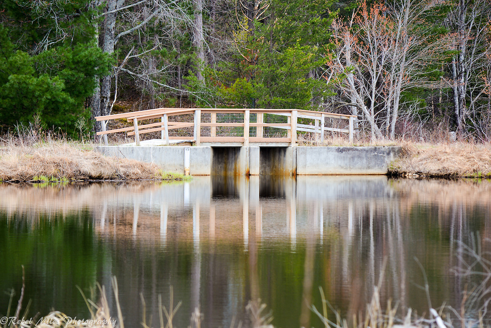 A Bridge Reflects Off Of A Still Pond At Seney National Wildlife Refuge