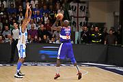 DESCRIZIONE : Campionato 2014/15 Dinamo Banco di Sardegna Sassari - Enel Brindisi<br /> GIOCATORE : Delroy James<br /> CATEGORIA : Tiro Tre Punti Controcampo<br /> SQUADRA : Enel Brindisi<br /> EVENTO : LegaBasket Serie A Beko 2014/2015<br /> GARA : Dinamo Banco di Sardegna Sassari - Enel Brindisi<br /> DATA : 27/10/2014<br /> SPORT : Pallacanestro <br /> AUTORE : Agenzia Ciamillo-Castoria / Luigi Canu<br /> Galleria : LegaBasket Serie A Beko 2014/2015<br /> Fotonotizia : Campionato 2014/15 Dinamo Banco di Sardegna Sassari - Enel Brindisi<br /> Predefinita :