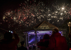 April 28, 2019 - Corfu, Greece - Fireworks seen during the celebration, the Ressurection of Christ by the Greek Orthodox Church, in Corfu, Greece, on April 28, 2019  (Credit Image: © Dimitris Lampropoulos/NurPhoto via ZUMA Press)