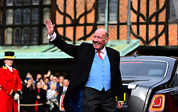 George Brooksbank, the father of the groom, arrives for the wedding of Princess Eugenie to Jack Brooksbank at St George's Chapel in Windsor Castle.