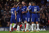 Michy Batshuayi of Chelsea (2nd left) celebrates with his team mates after he scores his team's fourth goal. Carabao Cup 3rd round match, Chelsea v Nottingham Forest at Stamford Bridge in London on Wednesday 20th September 2017.<br /> pic by Steffan Bowen, Andrew Orchard sports photography.