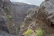 Crater edge of dormant Vesuvius volcano, near Naples, Italy.