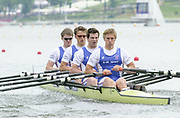 Poznan, POLAND.   2004 FISA World Cup, Malta Lake Course.  <br /> <br /> Fri. morning from the start pontoon<br /> <br /> GBR M4X Bow; Alan Campbell, Stephen Rowbottom, Simon Cottle and Peter Gardener.<br /> 09.05.2004<br /> <br /> [Mandatory Credit:Peter SPURRIER/Intersport Images]