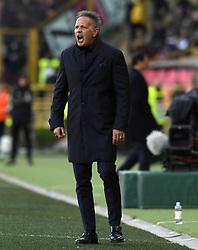 BOLOGNA, Feb. 25, 2019  Bologna's head coach Sinisa Mihajlovic reacts during a Serie A soccer match between Bologna and FC Juventus in Bologna, Italy, Feb. 24, 2019. FC Juventus won 1-0. (Credit Image: © Augusto Casasoli/Xinhua via ZUMA Wire)