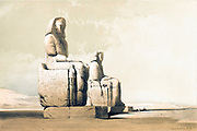 The colossal statues of Amenophis III at his mortuary temple in Thebes. Color lithograph by David Roberts, 1846. From Egypt and Nubia, Volume I: Thebes, 1846. Louis Haghe (British, 1806-1885), F.G.Moon, 20 Threadneedle Street, London, after David Roberts (British, 1796-1864). Color lithograph