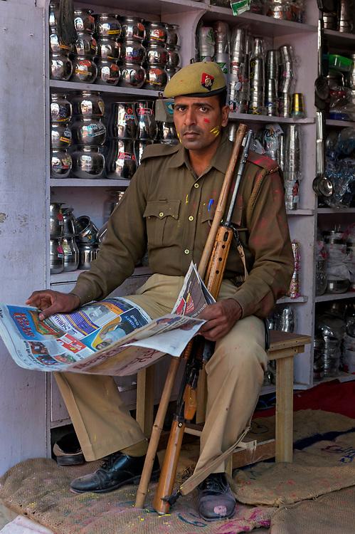Policeman on duty in Barsana village during Lathmar Ho ,Vrindavarn region, Uttar Pradesh