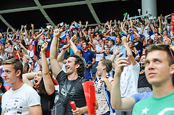 Fans of Slovenia celebrate the first goal during the EURO 2016 Qualifier Group E match between Slovenia and England at SRC Stozice on June 14, 2015 in Ljubljana, Slovenia. Photo by Mario Horvat / Sportida