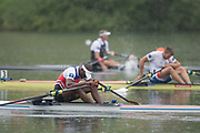 Lucerne, SWITZERLAND,  2016 FISA WCII, Men's single  scull CUB M1X Angel FOURNIER RODRIGUEZ, slumped over his scull, exhausted, Lake Rotsee Lake Rotsee, Sunday, 29/05/2016,<br /> [Mandatory Credit; Peter SPURRIER/Intersport-images]