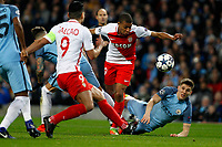 Football - 2016 / 2017 UEFA Champions League - Round of Sixteen, First Leg: Manchester City vs. Monaco<br /> <br /> John Stones of Manchester City and Kylian Mbappe of Monaco during the match at the Etihad Stadium.<br /> <br /> COLORSPORT