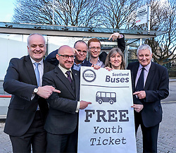 Scottish Greens, Free Bus Travel, 27 February<br /> <br /> Ahead of the budget debate this afternoon, Scottish Greens Parliamentary Co-Leaders Alison Johnstone MSP and Patrick Harvie MSP along with the Green MSP group staged a photocall outside the Scottish Parliament to celebrate their free bus travel for under 19s budget win.<br /> <br /> The Scottish Greens yesterday announced that a deal had been struck on free bus travel, more money for councils, extra resource for community safety and an additional £45 million package to tackle fuel poverty and the climate emergency.<br /> <br /> Pictured:  (left to right) Mark Ruskell MSP, Patrick Harvie MSP, Andy Wightman MSP , Ross Greer MSP, Alison Johnstone MSP and John Finnie MSP<br /> <br /> Alex Todd | Edinburgh Elite media