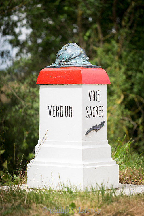 Sacred Way marker along the road from Verdun to Bar le Duc, France