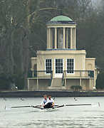 Henley. England, GB Rowing crews training on Henley Reach.<br /> Photo Peter Spurrier.<br /> 11/03/2004 - British International Rowing - Training<br /> Stroke Rick Dunn and bow Toby Garbutt.   [Mandatory Credit. Peter SPURRIER/Intersport Images]