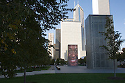 Though The Crown Fountain, designed by Spanish artist Jaume Plensa, doesn't always have water flowing from it's tall rectangular structure, the giant-sized faces of Chicagoans projected from the LED screens that cover them, are a year-round presence.