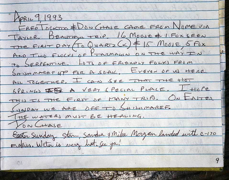 Serpentine Hot Springs visitor journal entry, June, Bering Land Bridge National Preserve, Alaska, USA