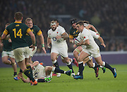 Twickenham, United Kingdom.  George FORD running at the Springboks defence, during the Old Mutual Wealth Series match.: England vs South Africa, at the RFU Stadium, Twickenham, England, Saturday, 12.11.2016<br /> <br /> [Mandatory Credit; Peter Spurrier/Intersport-images]