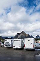 Motorhomes fill parking lot in summer, Reine, Moskenesøy, Lofoten Islands, Norway