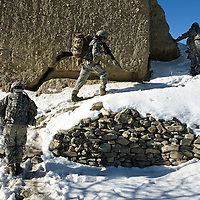 US Forces patrol out into the village of Rebat at the onset of Operation Winterstand in order to provide security for a mini Shura and the disrtribution of Humanitarian Assistance in Rebat, Pakitika Province, Afghanistan on the 19th of January 2008.
