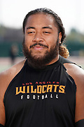 Los Angeles Wildcats guard Patrick Vahe during practice, Wednesday, Feb. 5, 2020, in Long Beach, Calif. The Wildcats are part of the eight-team XFL, a professional American football league owned by Vince McMahon's Alpha Entertainment, with  headquarters in Stamford, Connecticut. It is the successor to the original XFL, which was controlled by the World Wrestling Federation (WWF, now WWE)  and NBC, and ran for a single season in 2001.