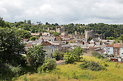 Housing and castle in town of Chepstow, Monmouthshire, Wales, UK