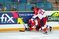 KAMLOOPS, CANADA - NOVEMBER 5:  Ivan Muranov #23 of Team Russia checks Calen Addison #3 of Team WHL on November 5, 2018 at Sandman Centre in Kamloops, British Columbia, Canada.  (Photo by Marissa Baecker/Shoot the Breeze)