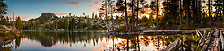 """""""Long Lake Sunset 1"""" - Stitched panoramic photograph of Long Lake, shot at sunset. Devils Peak can be seen in the distance on the left."""