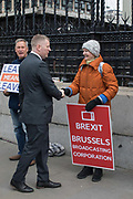 Paul Golding, leader of Britain First political party, meets pro Brexit campaigners outside Westminster on the 12th April 2019 in London in the United Kingdom.
