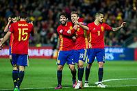 Spain's Dani Carvajal Isco Nacho Monreal  during the match of European qualifying round between Spain and Macedonia at Nuevo Los Carmenes Stadium in Granada, Spain. November 12, 2016. (ALTERPHOTOS/Rodrigo Jimenez)