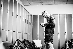 Jordan Nicholls of Bristol Flyers prepares in the changing room prior to tip off - Photo mandatory by-line: Ryan Hiscott/JMP - 26/01/2020 - BASKETBALL - Arena Birmingham - Birmingham, England - Bristol Flyers v Worcester Wolves - British Basketball League Cup Final