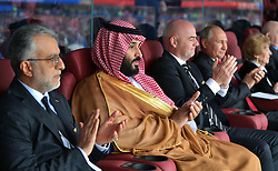 June 14, 2018 - Moscow, Russia - Russian President VLADIMIR PUTIN (4th left) attends the 2018 FIFA World Cup opening ceremony at Luzhniki Stadium ahead of the opening match between the national teams of Russia and Saudi Arabia. Saudi Crown Prince MOHAMMAD BIN SALMAN AL SAUD (2nd left) and FIFA President GIANNI INFANTINO.  (Credit Image: © Russian Look via ZUMA Wire)