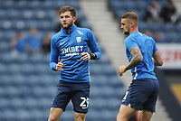 Preston North End's Tom Barkhuizen and Patrick Bauer during the pre-match warm-up <br /> <br /> Photographer Kevin Barnes/CameraSport<br /> <br /> The EFL Sky Bet Championship - Preston North End v Stoke City - Wednesday August 21st 2019 - Deepdale Stadium - Preston<br /> <br /> World Copyright © 2019 CameraSport. All rights reserved. 43 Linden Ave. Countesthorpe. Leicester. England. LE8 5PG - Tel: +44 (0) 116 277 4147 - admin@camerasport.com - www.camerasport.com