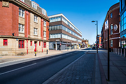 View down Division street - Areas of Sheffield city centre virtually deserted of people during the UK's  Social distancing and emergency lockdown measures which were announced Monday the 23rd April <br /> <br /> 24 April 2020<br /> <br /> www.pauldaviddrabble.co.uk<br /> All Images Copyright Paul David Drabble - <br /> All rights Reserved - <br /> Moral Rights Asserted -