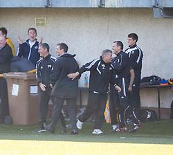 Alloa Athletic's bench cele Iain Flannigan scoring their second goal.<br /> Alloa Athletic 2 v 1 Hibernian, Scottish Championship game played 30/8/2014 at Alloa Athletic's home ground, Recreation Park, Alloa.