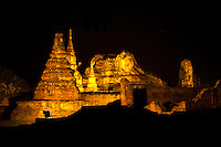 Wat Mahathat Illuminations - Wat Mahathat or the Monastery of the Great Relic was one of the most important monasteries of the Ayutthaya kingdom, not only because it was the religious centre and enshrined relics of the Buddha, but also for its proximity to the Grand Palace. It was a royal monastery till the end of the Ayutthaya period.