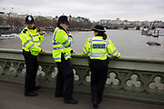 On the day that Article 50 was invoked to start the process of Brexit from the European Union, emergency services keep a look out on Westminster Bridge after two people jumped off the bridge on March 29th 2017 in London, England, United Kingdom.