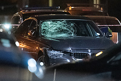 © Licensed to London News Pictures. 20/07/2020. London, UK. A smashed windscreen on a BMW car inside a police cordon on Scott Street. An investigation has been launched after a person was rammed by a car in Bethnal Green, the person was rammed by the vehicle into a fence. Photo credit: Peter Manning/LNP